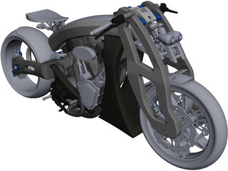 Custom Motorcycle CAD 3D Model