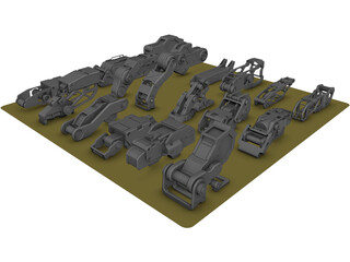 Hard Surface Kitbash Pack 1 Set 2 3D Model
