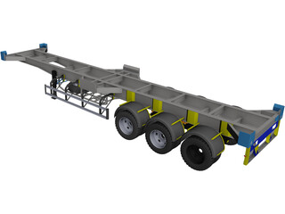 Semitrailer 40 feet CAD 3D Model