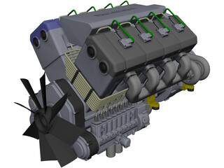 Turbo Diesel Engine CAD 3D Model