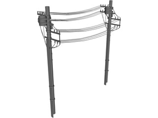 Power Line 3D Model 3D Preview