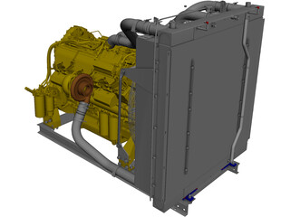 Caterpillar C27 Engine CAD 3D Model