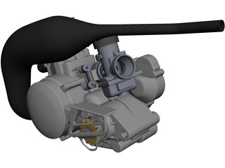 Engine Two Stroke 125cc CAD 3D Model
