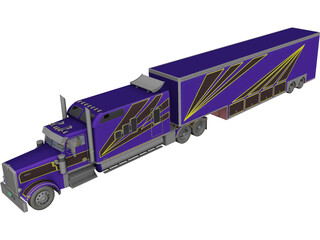 Kenworth W900 Custom with Trailer 3D Model