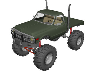 Chevrolet 4x4 Green Machine Pickup (1960) 3D Model 3D Preview