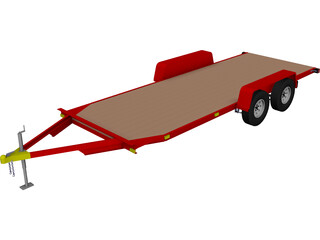 TV-108 Single-Car Hauler Trailer 3D Model