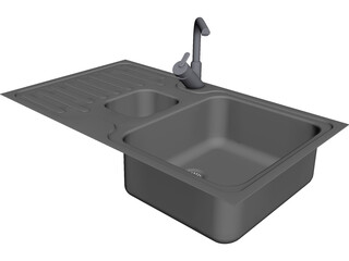 Steel Sink and Faucet 3D Model
