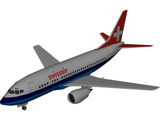 Boeing 737 Swiss Air 3D Model
