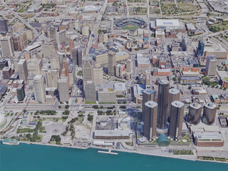 Detroit City, MI, USA (2019) 3D Model