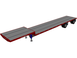 Drop Deck Semi Trailer CAD 3D Model