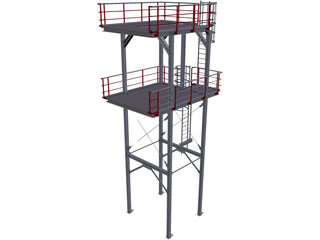 Stairtower 2 Levels CAD 3D Model
