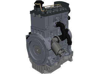 3 Cylinder Engine CAD 3D Model