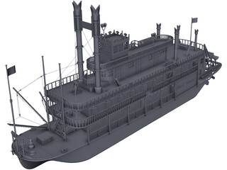 Steam Ship CAD 3D Model
