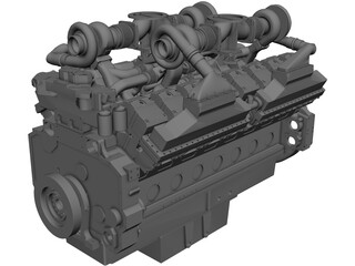 Cummins QSK60 V16 Engine CAD 3D Model