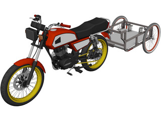 Honda ML 125 with Trailer 3D Model