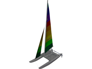 Hobie 16 Racing Catamaran 3D Model