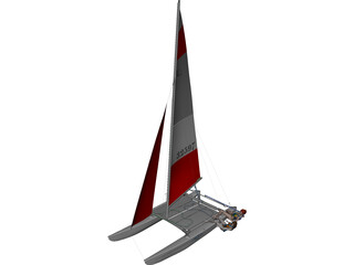 Hobie 16 Racing Catamaran with two Female Sailors 3D Model