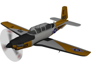 Beechcraft T-34C Turbo Mentor 3D Model