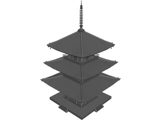 Japanese Tower 3D Model 3D Preview