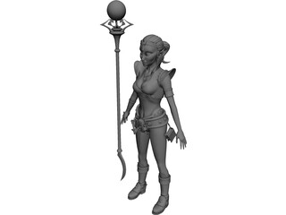 Elf Witch 3D Model