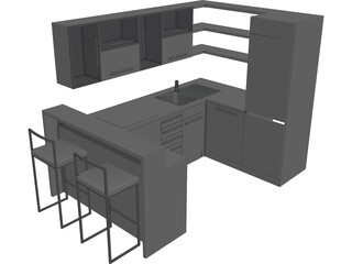 Kitchen with Sink 3D Model