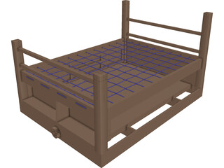 Rope Bed Frame with Drawers 3D Model