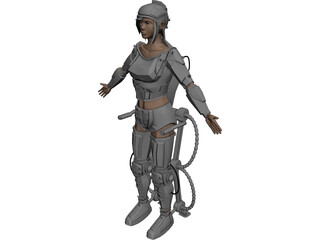 Woman Warrior Futuristic 3D Model
