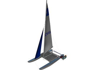 HobieCat 14 Turbo Racing Catamaran 3D Model