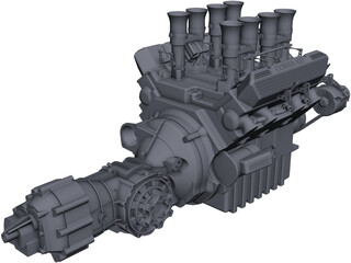 Jaguar XJ13 Engine and Gearbox CAD 3D Model