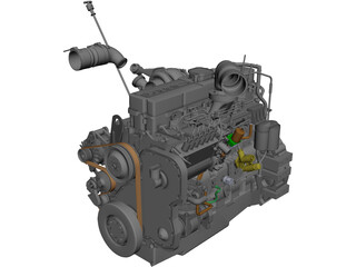 Cummins ISL Engine CAD 3D Model