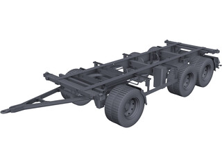 3 Axle Trailer CAD 3D Model