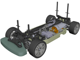 Tamiya TT-01 Type E RC Car Chassis CAD 3D Model