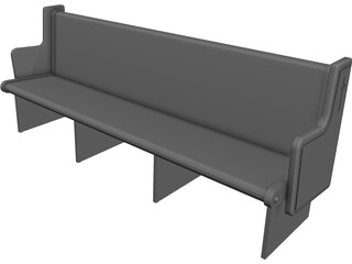 Church Bench 3D Model
