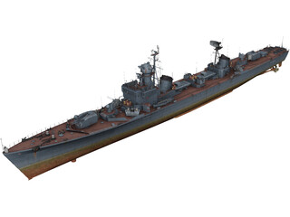 Soviet Destroyer Neustrashimy 3D Model