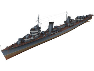 Soviet destroyer Leningrad 3D Model
