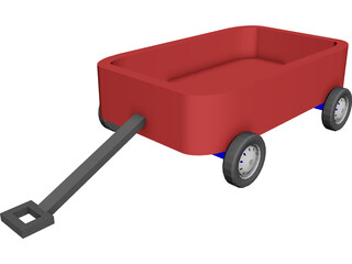 Children Red Wagon 3D Model