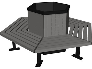 Hexagonal Bench 3D Model