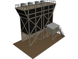 Grain Hopper 4x 3D Model