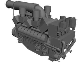 MTU 16V 595 TE70L Engine 3D Model