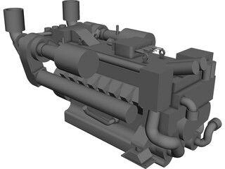 MTU 16V 2000 Engine 3D Model