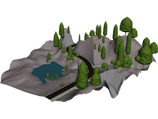 Alps Valley 3D Model