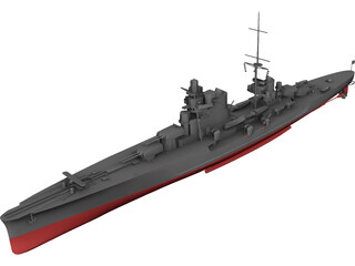 Heavy Cruiser Warship 3D Model