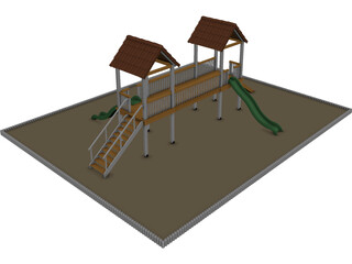 Games Area with Two Slide 3D Model