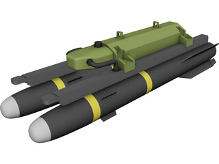 Hellfire Missile with Launcher 3D Model