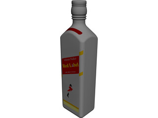 Red Label Bottle 3D Model