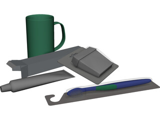 Assorted Desk Items 3D Model