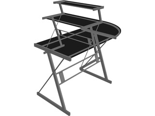 Black Metal Desk 3D Model