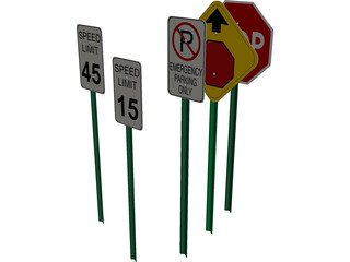 Traffic Signs 3D Model 3D Preview