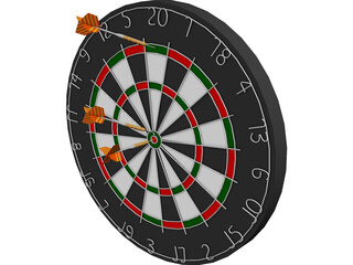 Dart Board with Darts 3D Model