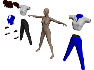 Woman [+Clothes] 3D Model